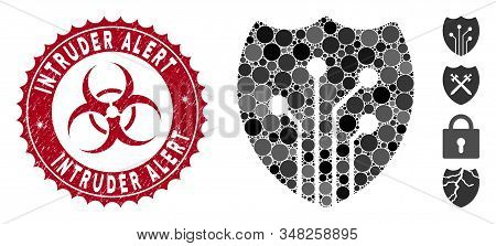 Mosaic Electronic Shield Icon And Grunge Stamp Seal With Intruder Alert Phrase And Biohazard Symbol.