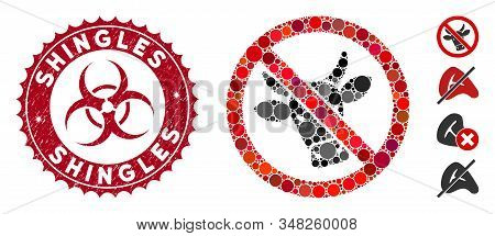 Mosaic No Beef Icon And Grunge Stamp Seal With Shingles Text And Biohazard Symbol. Mosaic Vector Is