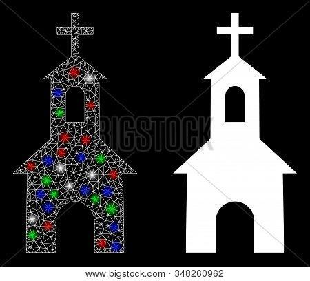 Glowing White Mesh Catholic Kirch With Glow Effect. Abstract Illuminated Model Of Catholic Kirch. Sh