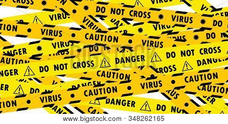 Set Of Yellow Lines With Different Inscriptions About The Danger Of The Virus And Coronavirus On Tra