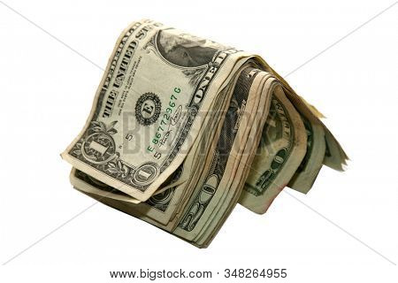 American Money. Money isolated on white. Room for text. Clipping Path. American Money is used and collected world wide. Money is the primary way to trade for goods or services world wide. Cash is king
