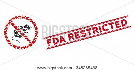 Mosaic No Rats Icon And Corroded Stamp Seal With Red Fda Restricted Text Between Double Parallel Lin