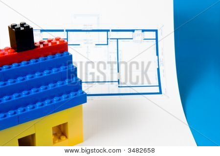Blueprint For Home And Model Of House