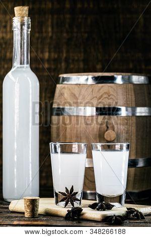 Arabic Alcohol Drink Raki With Anis On Wooden Background.turkish And Greek Traditional Aperitif Arak