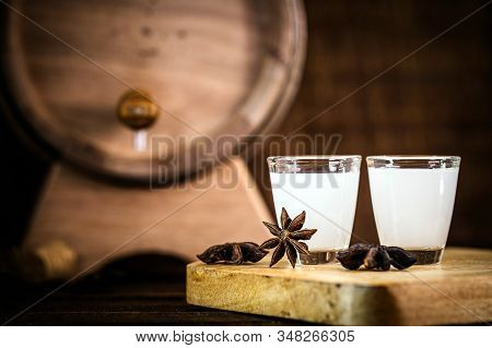 Rustic Star Anise, Used In Hard Drinks. Spot Focus, Space For Text.