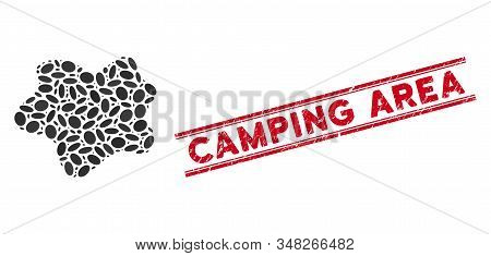 Mosaic Dirt Spot Icon And Corroded Stamp Watermark With Red Camping Area Text Between Double Paralle