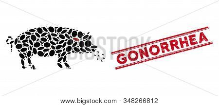 Mosaic Pig Plague Icon And Distressed Stamp Seal With Red Gonorrhea Text Between Double Parallel Lin