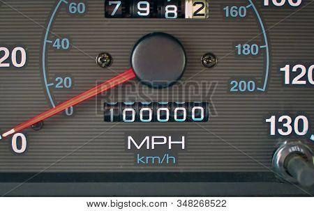 Non-digital Car Odometer Reaches The 100,000 Mile Mark