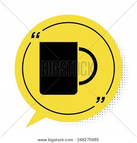 Black Coffee Cup Icon Isolated On White Background. Tea Cup. Hot Drink Coffee. Yellow Speech Bubble