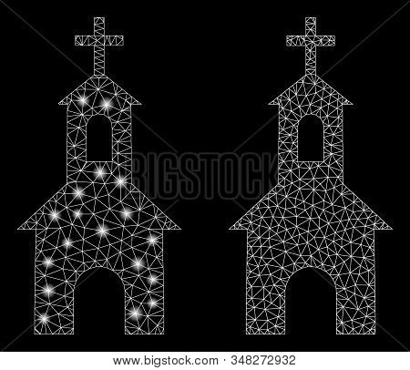 Glossy Mesh Catholic Kirch With Sparkle Effect. Abstract Illuminated Model Of Catholic Kirch Icon. S