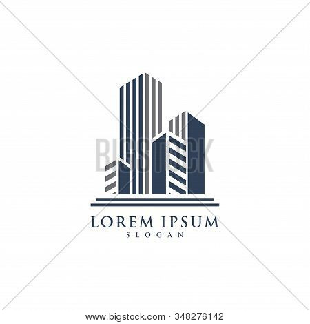Isolated Colorful Real Estate Agency Logo, House Logotype On White, Home Concept Icon, Skyscrapers V
