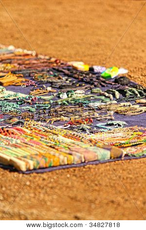 Assorted Handmade Jewelries On A Carpet, At Street Market