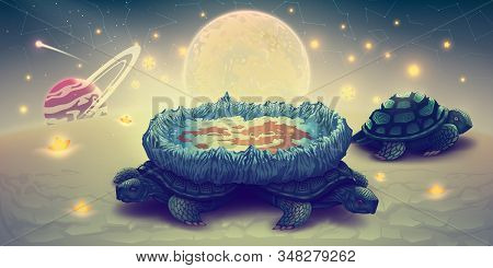 Flat Earth Model On A Three Turtles, Concept Cosmology Of Flat World In Space With Solar System, Sun
