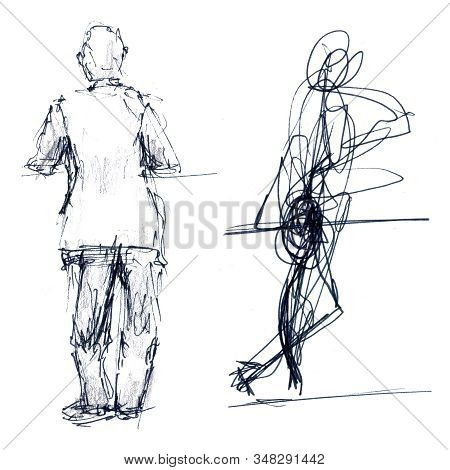 A Sketch Of A Standing Person From The Back In One Minute And In Five Minutes - Hand-drawn Linear Sk