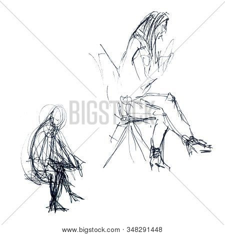 A Sketch Of A Womans Seated Man In One Minute And Five Minutes Comparison - Hand-drawn Linear Sketch