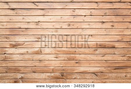 Wooden Wall Made Of Pine Wood Planks, Flat Background Photo Texture