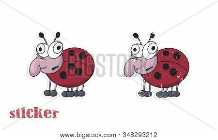Cartoon Funny Ladybug Mutant. Vector Illustration In The Form Of A Sticker.