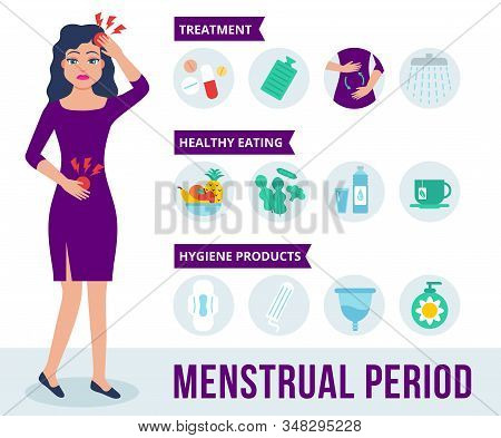 Woman Character Holds Her Stomach And Feels Menstrual Pain. Infographics Of Menstrual Period In Flat