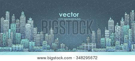 Illustration With Architecture, Skyscrapers, Megapolis, Buildings, Downtown.