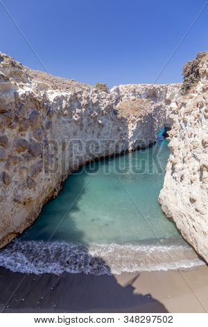 Papafragas Cove And Beach In Milos Island, Cyclades, Greece.