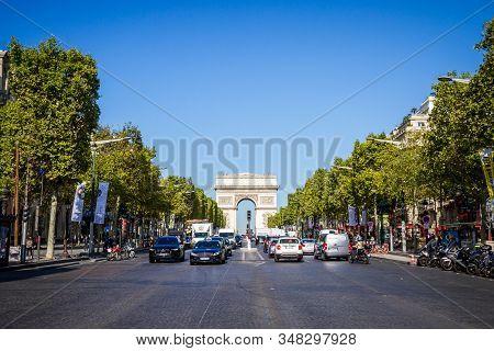 Paris/france - September 10, 2019 : Champs-elysees Avenue And Arc De Triomphe