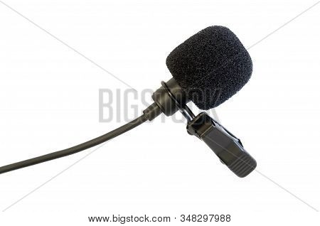 Lavalier Microphone. Lavalier Microphone Isolate. Microphone Closeup. Announcer Recording. Human Spe
