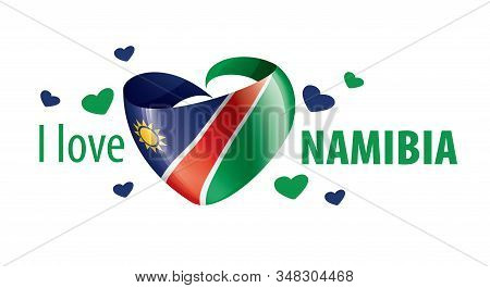National Flag Of The Namibia In The Shape Of A Heart And The Inscription I Love Namibia. Vector Illu