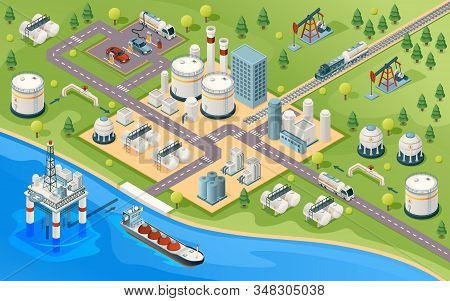 Oil Extraction And Transportation Isometric Sign. Gasoline And Petroleum Production Industry. Mining