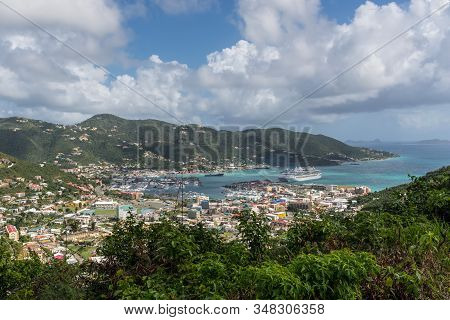 Road Town, British V. Islands - December 16, 2018: Landscape Of The Road Harbour, Road Town In Torto