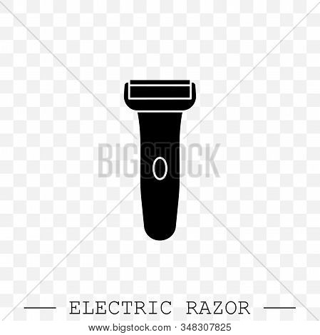 Electric Razor Vector Icon. Electric Shaving Machine Symbol. Rotary Shaver, Mesh Razor Black