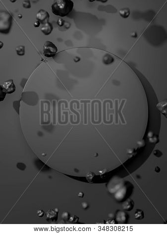 Round Black Blank Banner Near Black Bubbles Isolated On Black Background. 3d Rendering.