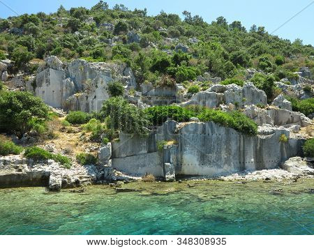 The Sunken Ruins On The Island Of Kekova Dolichiste Of The Ancient Lycian City Of Ancient Simena, Wa