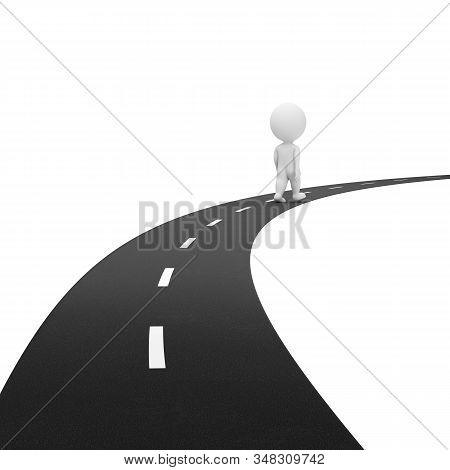 3d Small Person Goes Into The Distance Along The Road. 3d Image. White Background.