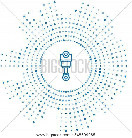 Blue Line Engine Piston Icon Isolated On White Background. Car Engine Piston Sign. Abstract Circle R