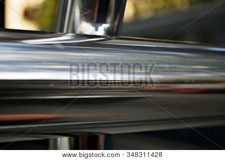 Public Metal Chrome Handrail. Chromium Metal Fence With Handrail. Chrome-plated Metal Railings. Shal