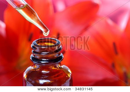 Herbal Medicine Dropper Bottle With Flowers