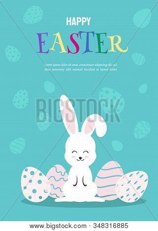 Happy Easter Illustration - White Rabbit Bunny on Blue Background. Happy Easter, bunny, easter background, easter design. Happy Easter, easter bunny, easter background, easter banners, easter flyer, easter design. Vector illustration.