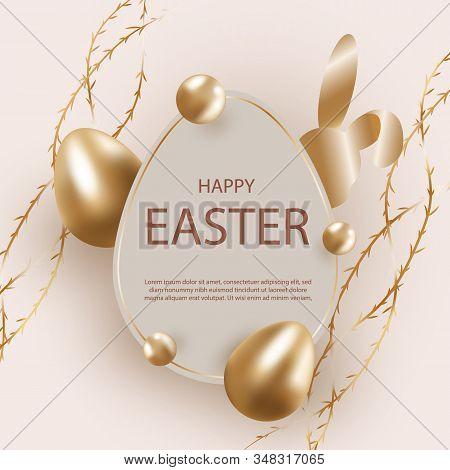 Golden easter egg with decorative elements illustration. Happy easter background, easter design. Happy Easter, easter bunny, easter background, easter banners, easter flyer, easter design. Copy space text area, vector illustration.