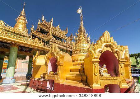 Soon Oo Ponya Shin Pagoda , Sagaing, Mandalay , Myanmar.the Pagoda Is Located On The Top Of The Saga