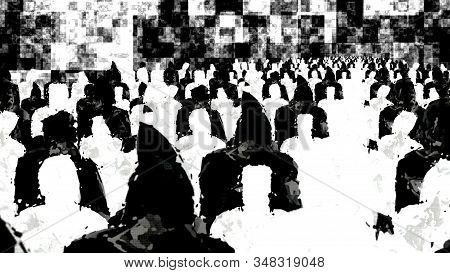 Crowd Of Black And White People Silhouettes
