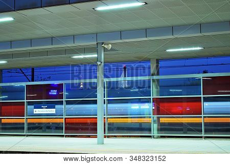 Warsaw,poland May 2015. Warsaw Stadion.suburban Rail Which Offers A View Of Warsaw