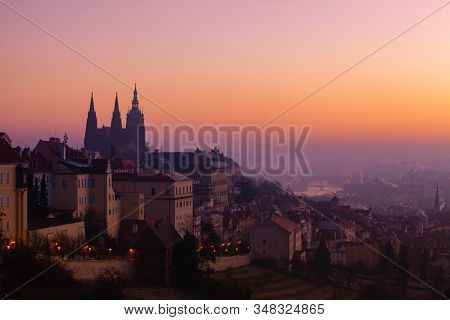 Prague Castle Is A Castle Complex In Prague, Czech Republic, Built In The 9 Th Century. The Castle W