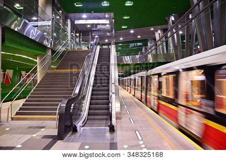 Warsaw,poland. 16 January 2018.second Line Of Warsaw Subway System. Warsaw Metro Station Interior. W