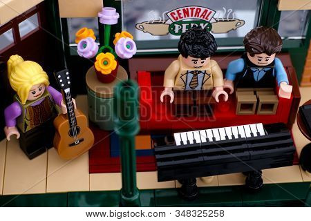 Tambov, Russian Federation - January 03, 2020 Lego Ideas Central Perk Set. Phoebe With Guitar, Ross