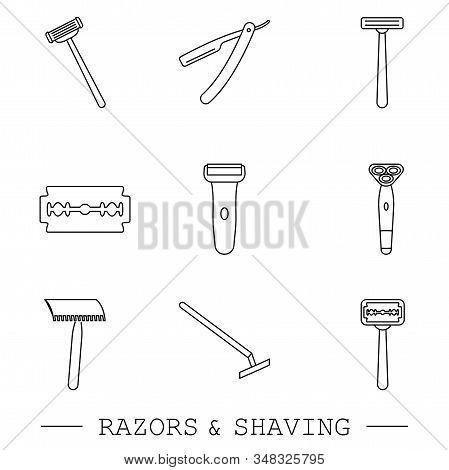 Razor Vector Line, Linear Icon Set. Collection Of 9 Razor Outline Icons. Editable Razor Icons For We
