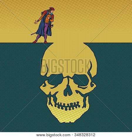Hamlet And The Skull. Man Next To A Deep Pit Silhouette. Pop Art Retro Vector Illustration 50s 60s S
