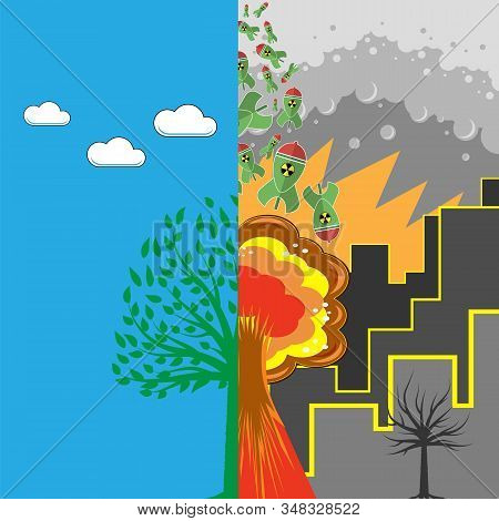 Green Tree And Atomic Bomb With Radiation Sign. Nuclear Rocket. Weapon Icon. Explode Flash, Cartoon