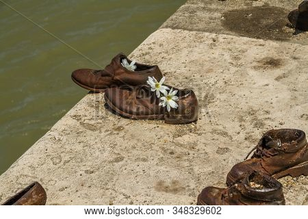 Budapest, Hungary - Shoes On The Danube Bank Holocaust Memorial, On July  2 2019 In Hungary.