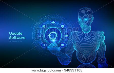Update Software. Upgrade Software Version Concept On Virtual Screen. Computer Program Upgrade Techno