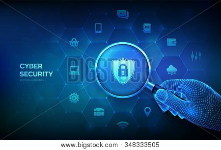 Cyber Security. Information Or Network Security Concept With Magnifier In Wireframe Hand And Icons.